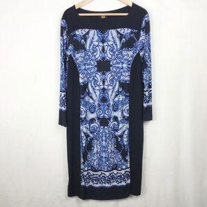 Adrianne Vittadini Blue/White 3/4 Sleeve Shift XL